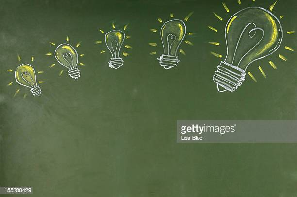 Light bulbs Sketched on Blackboard.Copy Space.