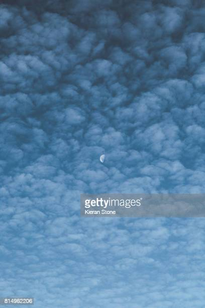 Light Cloud Formation with Half Moon During the Day