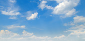 Light cumulus clouds in the blue sky. Wide photo.