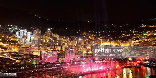 Light displays during the Jean Michel Jarre concert celebrating the wedding of Prince Albert II of Monaco to Charlene Wittstock at Port of Monaco on...