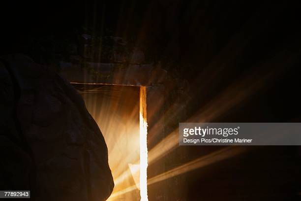 Light emerging from behind a tombstone