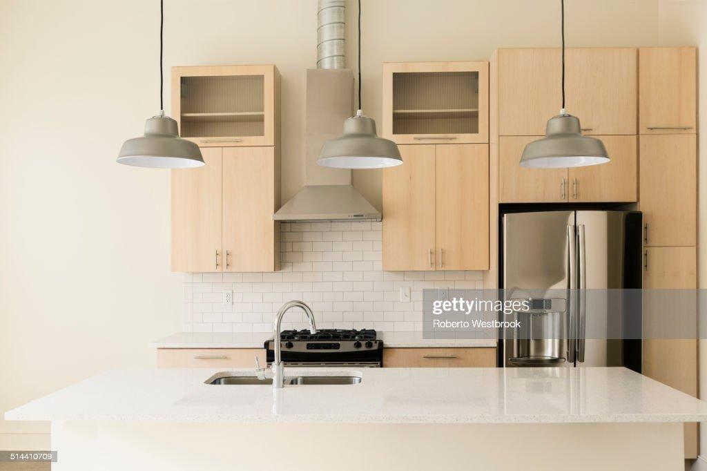 Light fixtures in modern kitchen