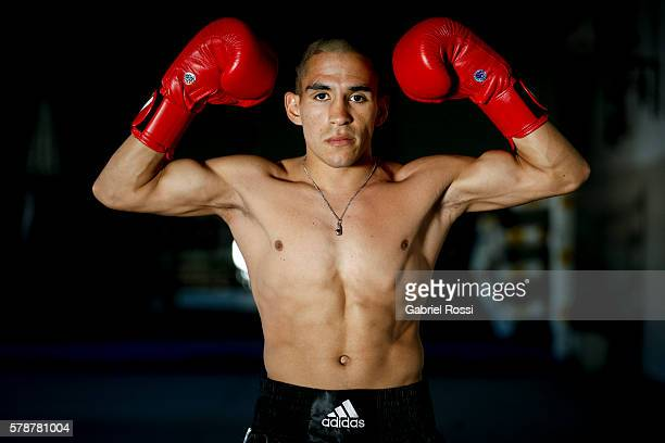 Light flyweight boxer Leandro Blanc of Argentina during an exclusive photo session at CeNARD on July 21 2016 in Buenos Aires Argentina