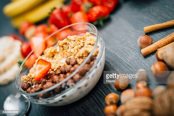 Light food for beakfast with cereals and fruit
