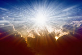 Beautiful background - bright sunshine, light from sky, heaven