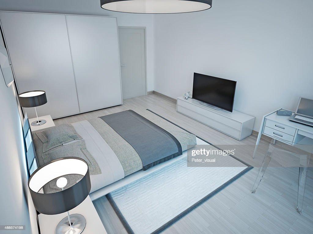 Camere Da Letto Design Minimalista : Camera da letto design minimalista e grigio chiaro foto stock
