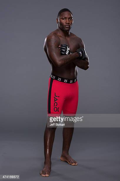 UFC light heavyweight Anthony Johnson poses for a portrait during a UFC photo session inside the MGM Grand Garden Arena on May 20 2015 in Las Vegas...