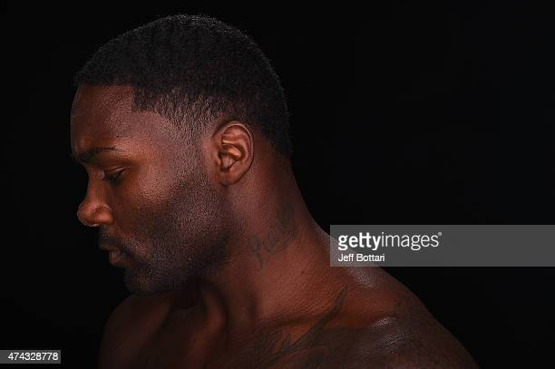 UFC light heavyweight Anthony 'Rumble' Johnson poses for a portrait during a UFC photo session inside the MGM Grand Garden Arena on May 20 2015 in...