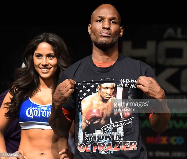 Light heavyweight boxer Berard Hopkins poses after his weighin November 7 2014 in Atlantic City New Jersey Hopkins will face Sergey Kovalev November...