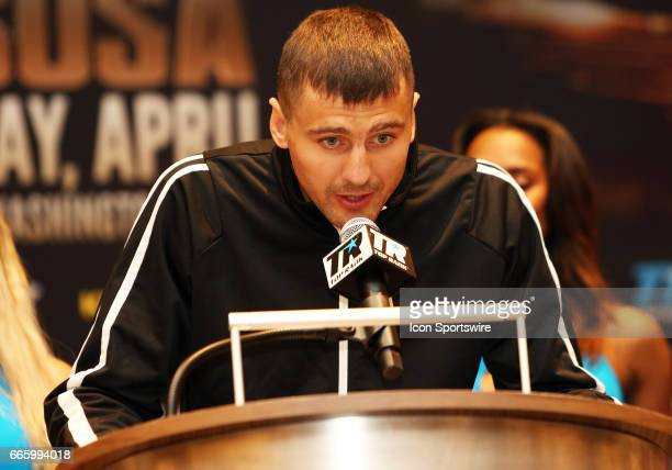 Light Heavyweight boxer Oleksandr Gvozdyk speaks during a Top Rank Championship Boxing Press Conference on April 06 at MGM National Harbor in Oxon...