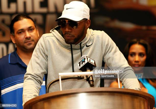 Light Heavyweight boxer Yuniesky Gonzalez speaks during a Top Rank Championship Boxing Press Conference on April 06 at MGM National Harbor in Oxon...