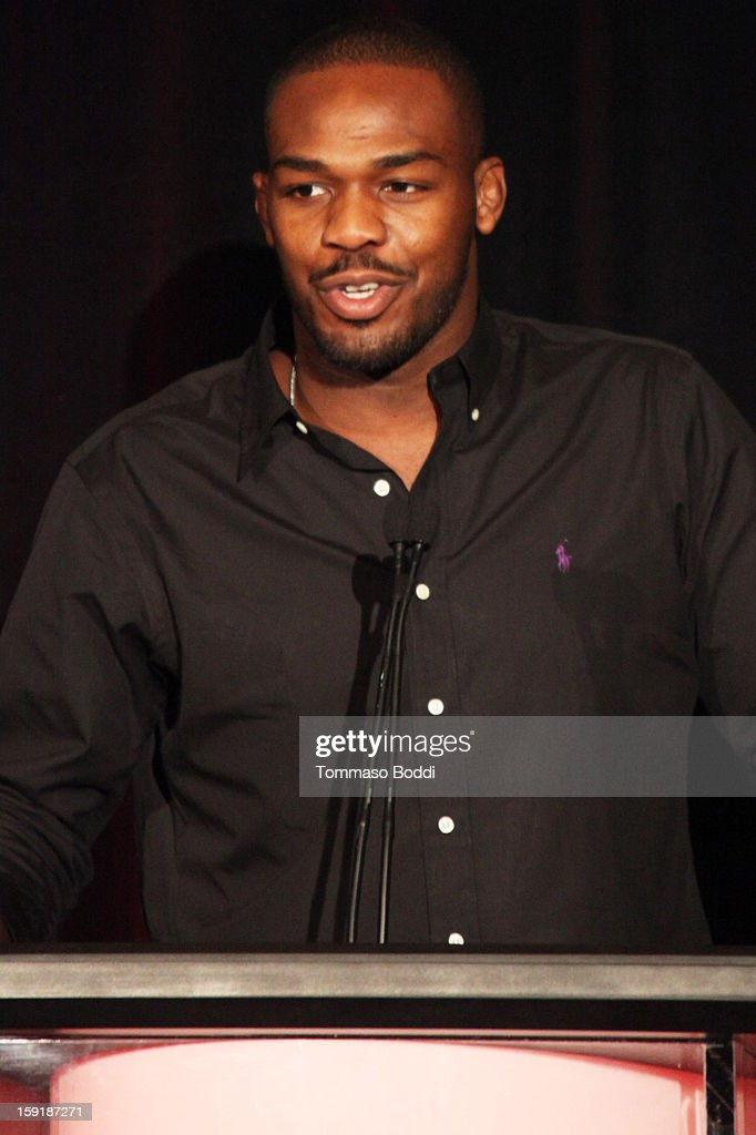 Light Heavyweight Champion and TUF Coach <a gi-track='captionPersonalityLinkClicked' href=/galleries/search?phrase=Jon+Jones+-+Mixed+Martial+Artist&family=editorial&specificpeople=8928306 ng-click='$event.stopPropagation()'>Jon Jones</a> of the show The Ultimate Fighter attends the TCA 2013 Winter Press Tour - FX panels held at The Langham Huntington Hotel and Spa on January 9, 2013 in Pasadena, California.