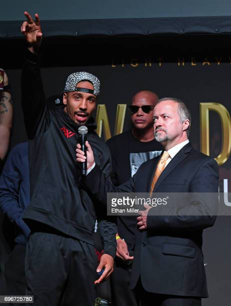 WBO light heavyweight champion Andre Ward is interviewed by HBO's Kieran Mulvaney during Ward's official weighin at the Mandalay Bay Events Center on...