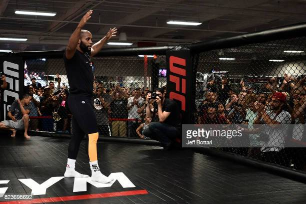 UFC light heavyweight champion Daniel Cormier holds an open workout session for fans and media at UFC GYM La Mirada on July 27 2017 in La Mirada...