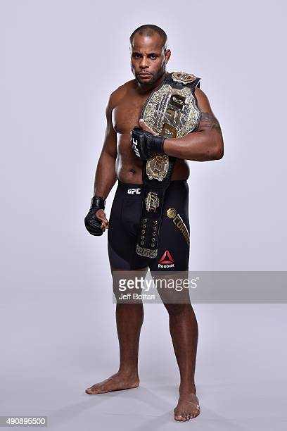 UFC light heavyweight champion Daniel Cormier poses for a portrait during a UFC photo session inside the Westin Houston on September 30 2015 in...
