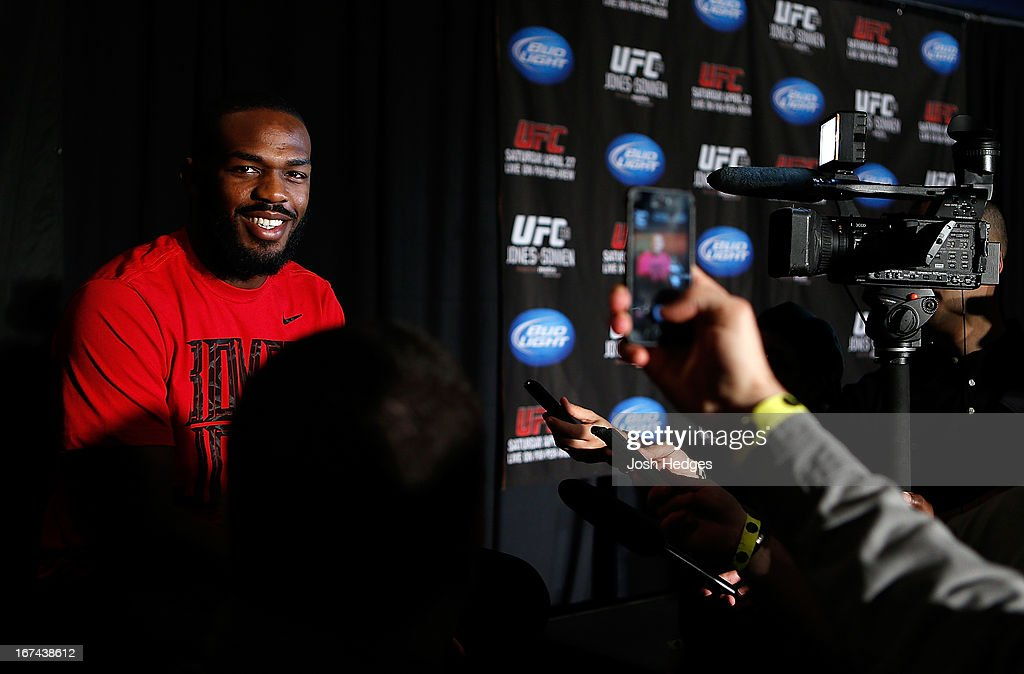 Light Heavyweight Champion Jon 'Bones' Jones interacts with media during UFC 159 media day at The Theater at Madison Square Garden on April 25, 2013 in New York City.