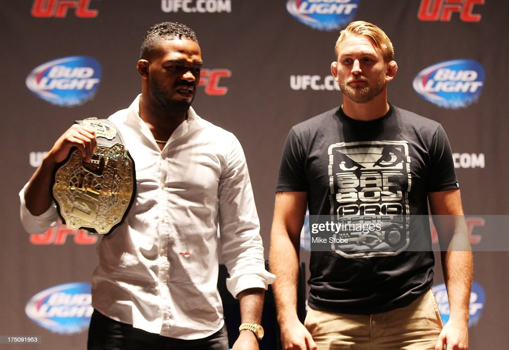 UFC light heavyweight champion Jon Jones and Alexander Gustafsson pose for a photo during a press conference at Beacon Theatre on July 31, 2013 in New York City.