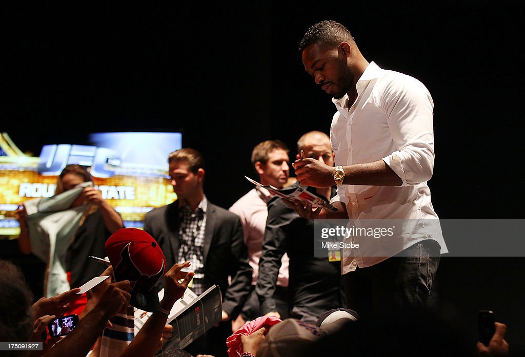 UFC light heavyweight champion Jon Jones interact with the fans during a press conference at the Beacon Theatre on July 31, 2013 in New York City.