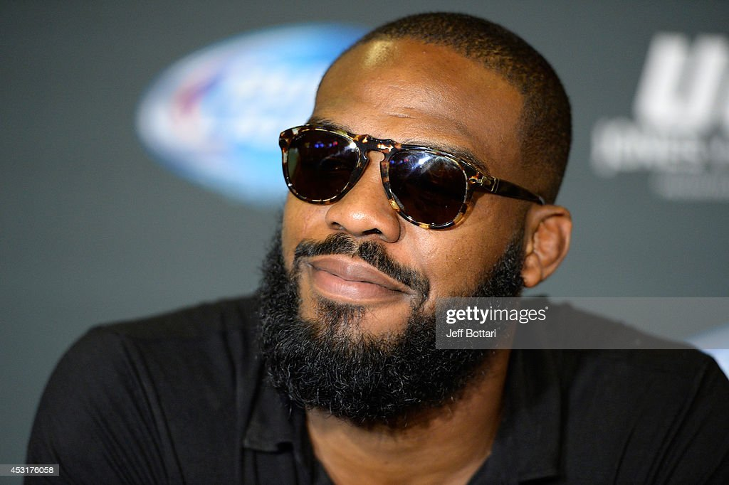 UFC light heavyweight champion Jon Jones interacts with the media during the UFC 178 Ultimate Media - light-heavyweight-champion-jon-jones-interacts-with-the-media-during-picture-id453176058