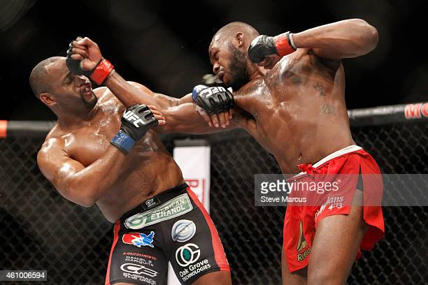 Light heavyweight champion Jon Jones punches Daniel Comier during the UFC 182 event at the MGM Grand Garden Arena on January 3 2015 in Las Vegas...