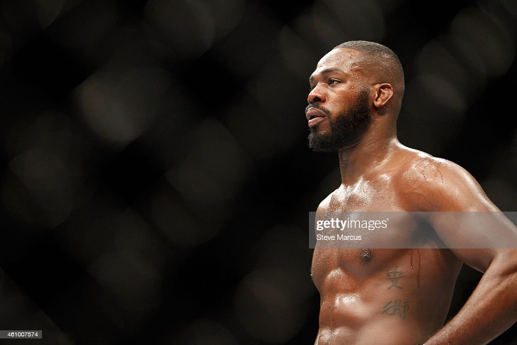 Light heavyweight champion Jon Jones waits in a timeout as he defends his title against Daniel Cormier during the UFC 182 event at the MGM Grand Garden Arena on January 3, 2015 in Las Vegas, Nevada. Jones retained his title by unanimous decision.