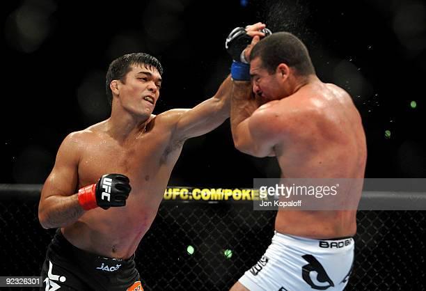 Light Heavyweight Champion Lyoto Machida battles with UFC Light Heavyweight challenger Mauricio Rua during their title fight at UFC 104 at Staples...