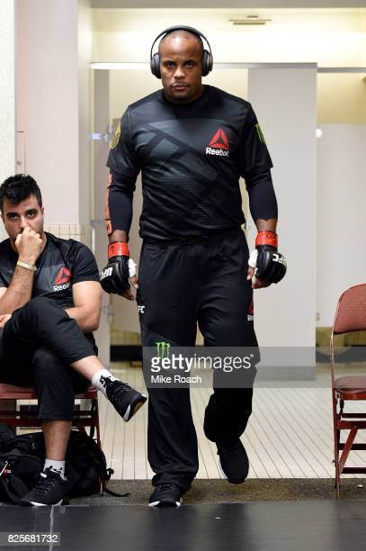 UFC light heavyweight champions Daniel Cormier warms up backstage during the UFC 214 event inside the Honda Center on July 29 2017 in Anaheim...