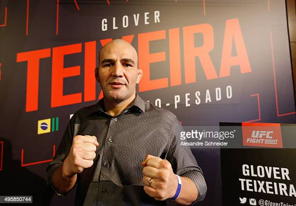 Light heavyweight contender Glover Teixeira poses for a photo during the Ultimate Media Day at Hilton Hotel for the UFC Fight Night Sao Paulo on...