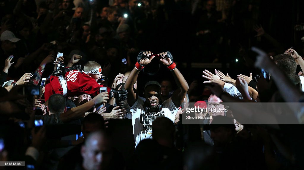 TORONTO, ON- SEPTEMBER 22 - Light Heavyweight <a gi-track='captionPersonalityLinkClicked' href=/galleries/search?phrase=Jon+Jones+-+Mixed+Martial+Artist&family=editorial&specificpeople=8928306 ng-click='$event.stopPropagation()'>Jon Jones</a> makes his way to the ring as he retains his Light Heavyweight title against Swede Alexander Gustafsson at UFC 165 at the Air Canada Centre in Toronto, September 22, 2013.