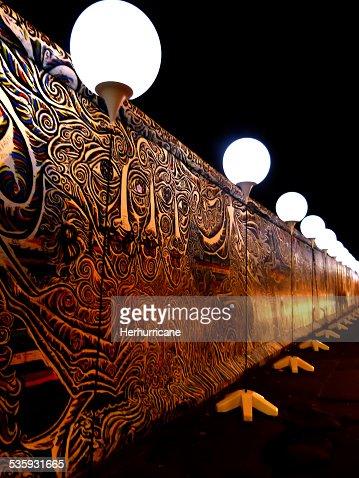 Light installation along the Berlin Wall : Stock Photo