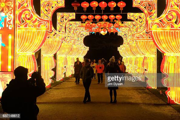 A light installation is illuminated as the 'Magical Lantern Festival Opens at Chiswick House And Gardens on January 19 2017 in London England The...