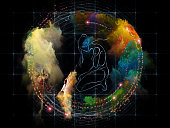 Kneeling human figure, surreal autumn leaf and abstract nebulae on subject of drama of existance and miracle of life
