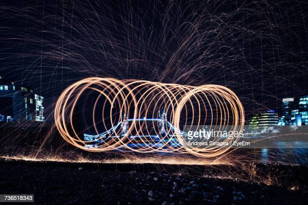 Light Painting Against Sky At Night
