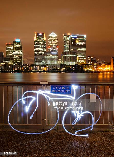 Light painting of a bicycle