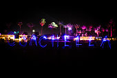 A light painting on the terrace during day 2 of the 2015 Coachella Valley Music And Arts Festival at The Empire Polo Club on April 18 2015 in Indio...