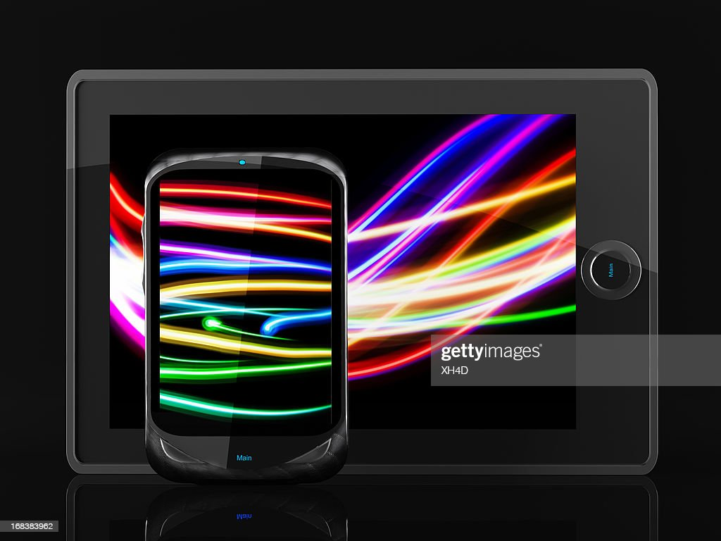Light Painting Tablet and mobilephone : Stock Photo