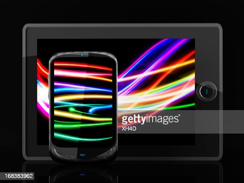 Light Painting Tablet and mobilephone : Stockfoto