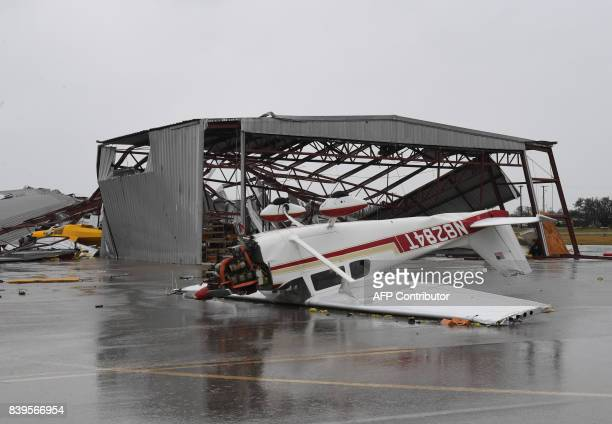 A light plane sits upside done at Rockport Airport after heavy damage when Hurricane Harvey hit Rockport Texas on August 26 2017 Hurricane Harvey...
