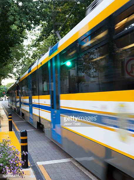 Light rail, electric train in city moving