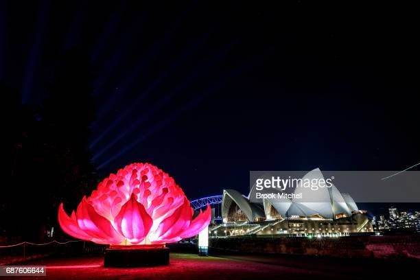 A light sculpture is lit ahead of Vivid Sydney at The Royal Botanic Gardens on May 24 2017 in Sydney Australia Vivid Sydney is an annual festival...