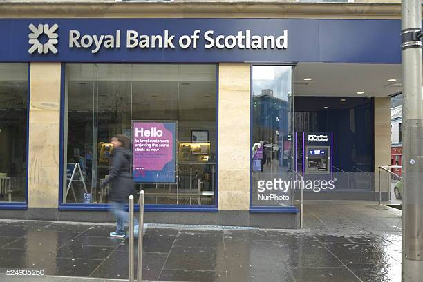 Light shining on a branch of the Royal Bank of Scotland reflecting on Saturday 11th April 2015 in Glasgow