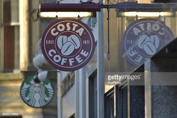 Light shining on a sign for the Costa coffee shop part of the Whitbread Group in Manchester England on Tuesday 8th December 2015