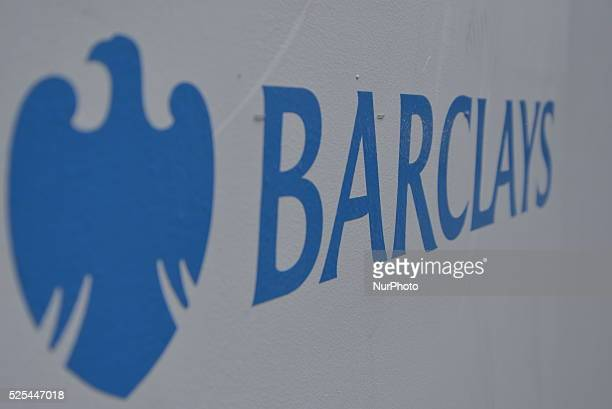 Light shining on the eagle logo of Barclays bank in Manchester during Monday th May 2015 Barclays Bank and the Royal Bank of Scotland as well as...