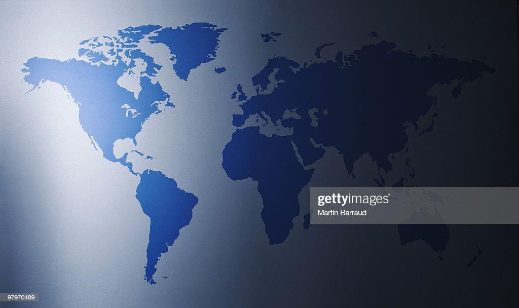 Light shining on world map