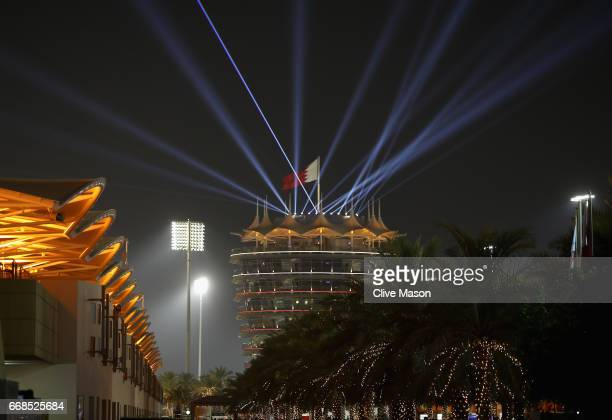 A light show from the top of the Tower over the paddock during practice for the Bahrain Formula One Grand Prix at Bahrain International Circuit on...