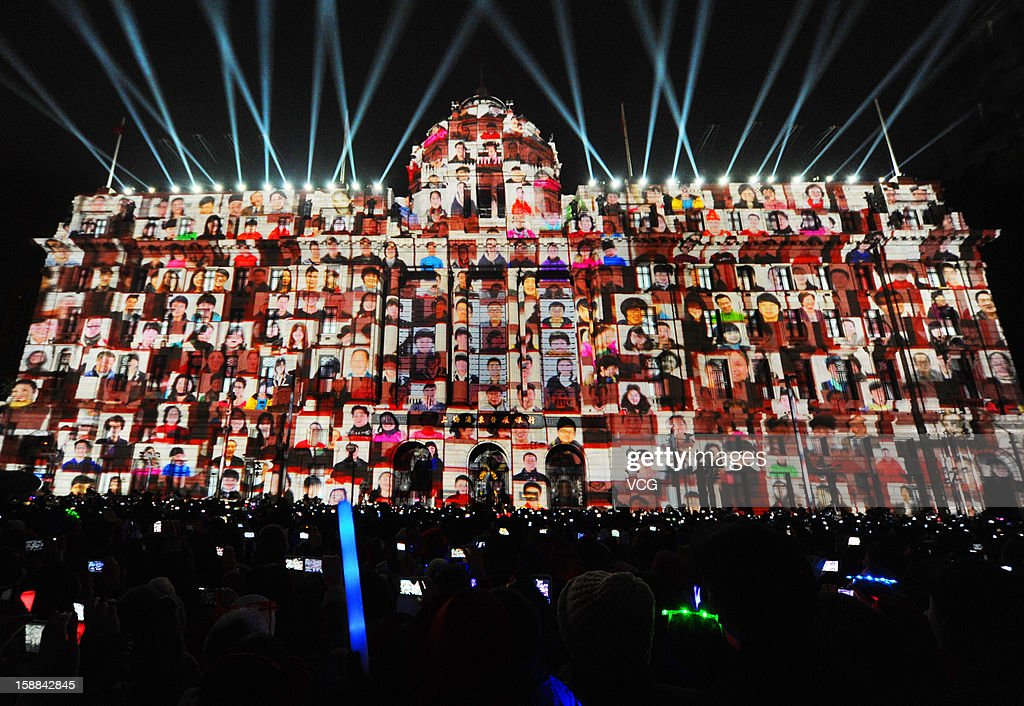 A 4D light show is projected on a building at the Bund to greet the New Year on December 31, 2012 in Shanghai, China.