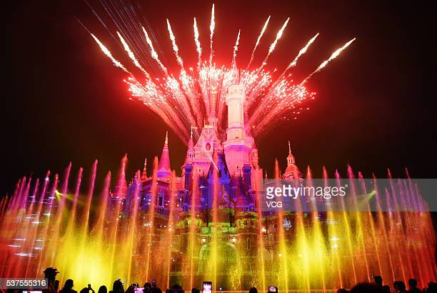 Light show performs in Shanghai Disney Resort on June 1 2016 in Shanghai China Shanghai Disney Resort is during the trial operation and will...