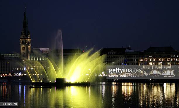 A light show seen in front of the city hall of Hamburg during the FIFA World Cup Blue Goal Laser Show on June 9 2006 in Hamburg Germany