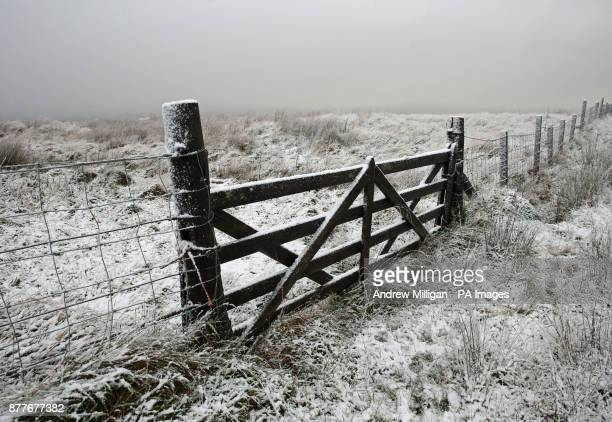 Light snow in Sheriffmuir near Dunblane as wintry showers are forecast for many parts of Scotland