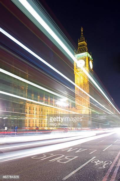 Light streaks past Westminster